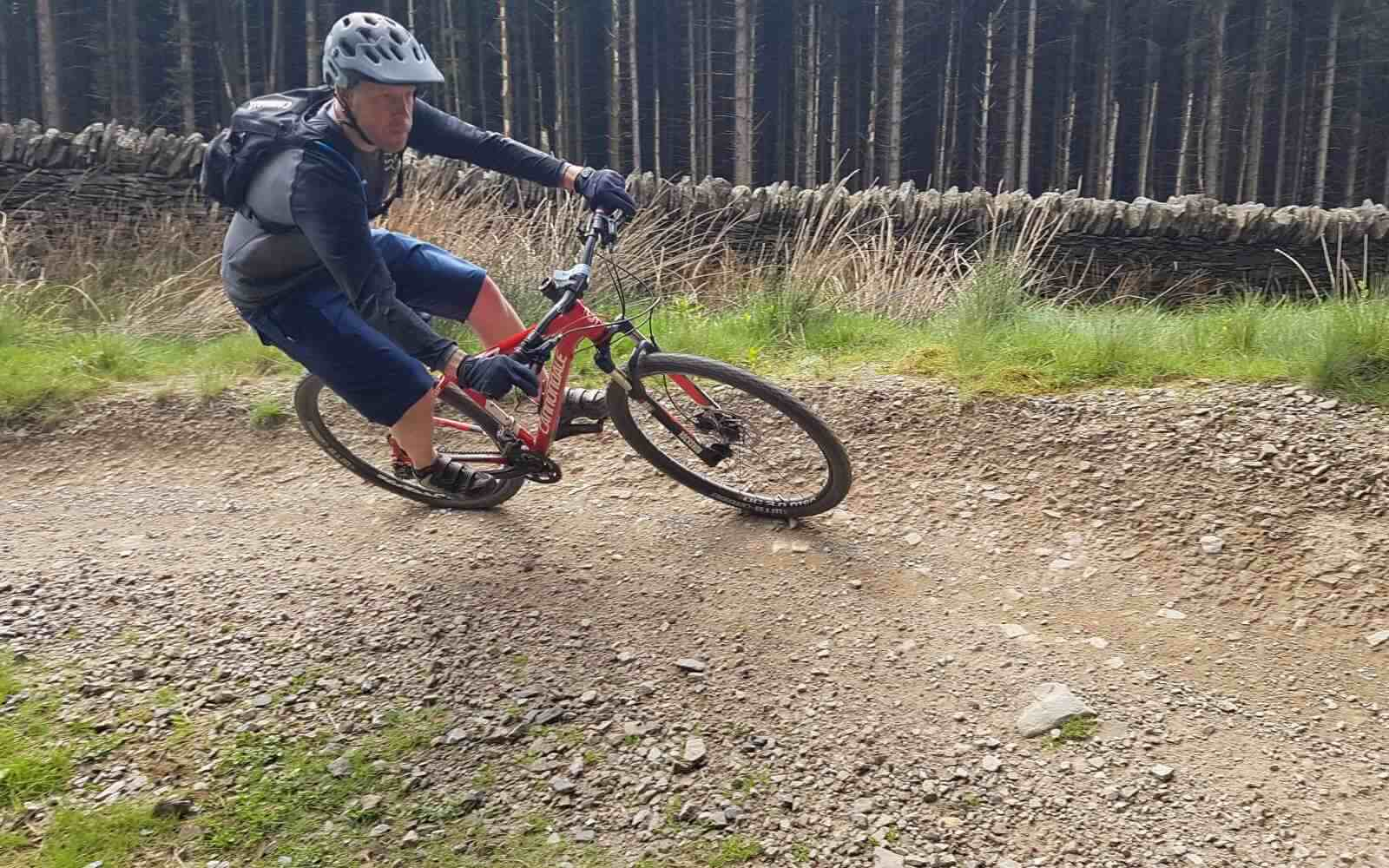 Mountain biker up close on trail Bike Park Wales
