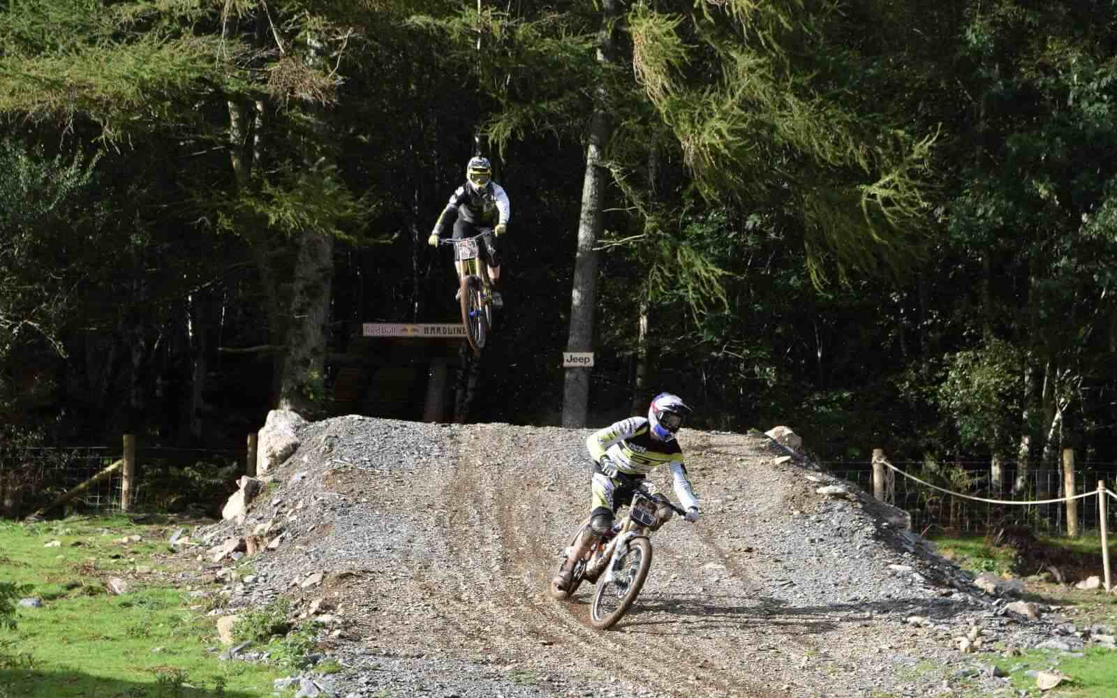 MTB downhill jumps bottom Red Bull Hardline 2015 copyright Luke Ryan