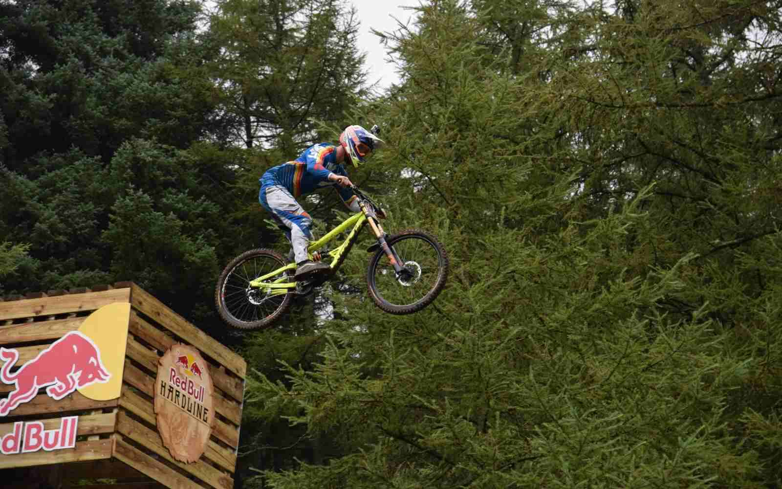 MTB jumping drop off Red Bull Hardline copyright Luke Ryan