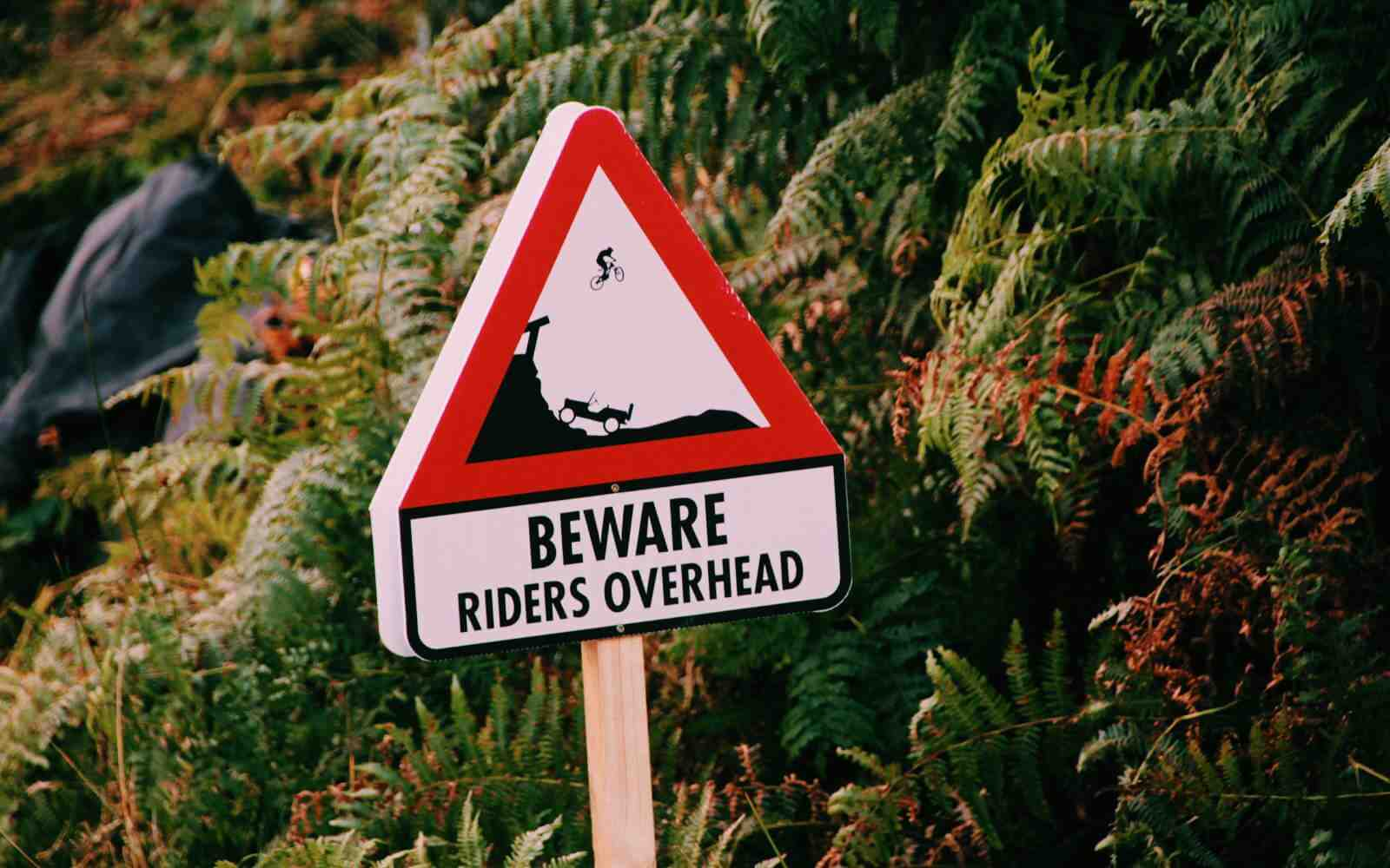 MTB sign beware riders overhead Red Bull Hardline
