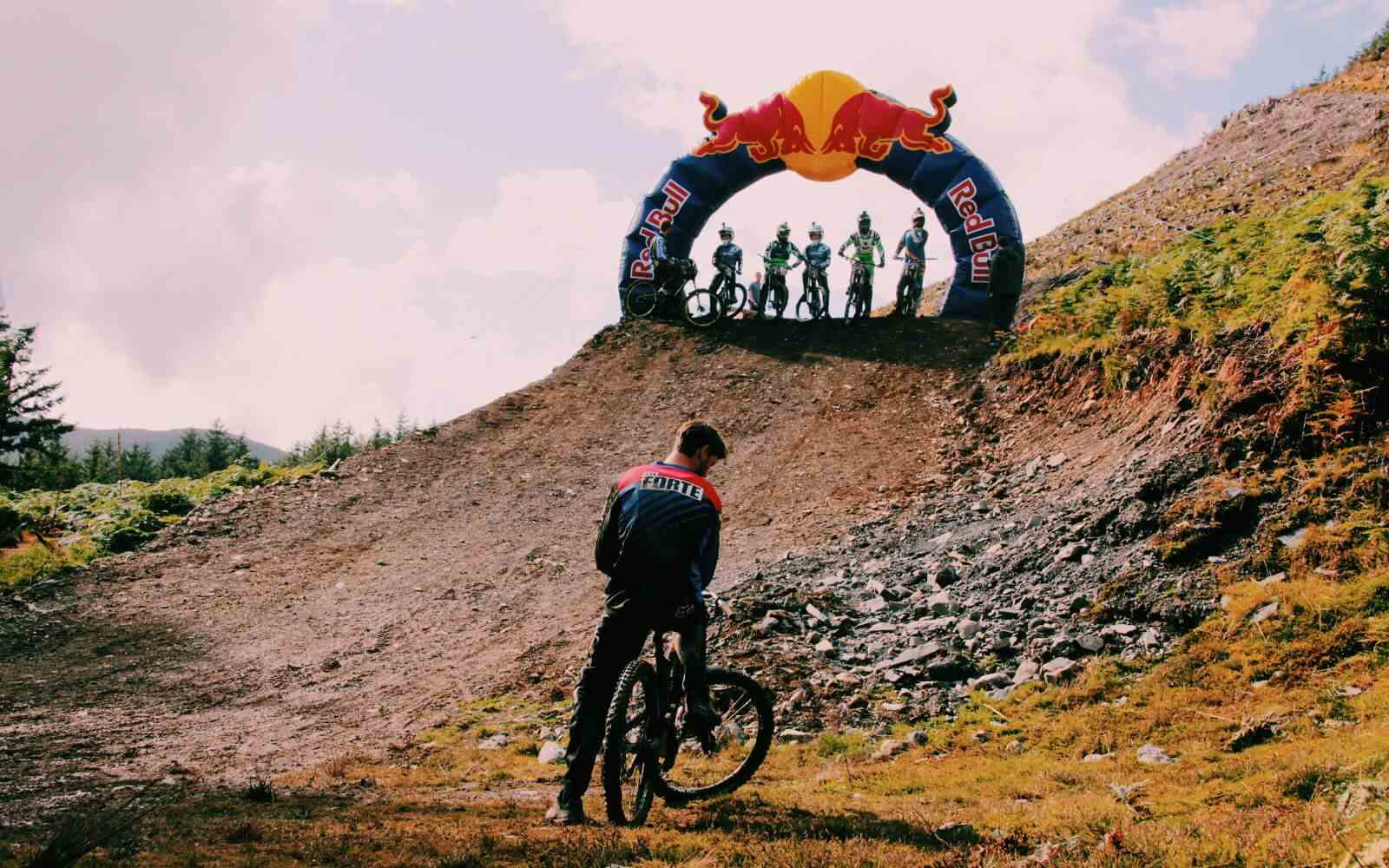 Red Bull Hardline Downhill MTB start line mountain bikers lined up