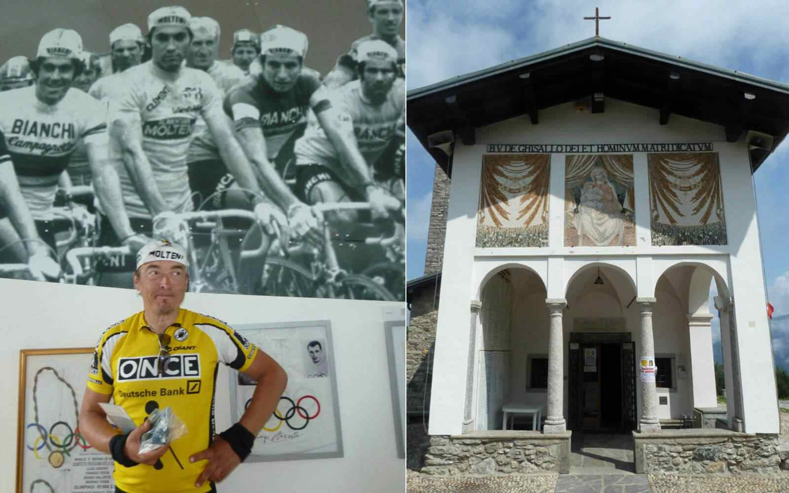 Madonna del Ghisallo and cyclist with Molteni cap