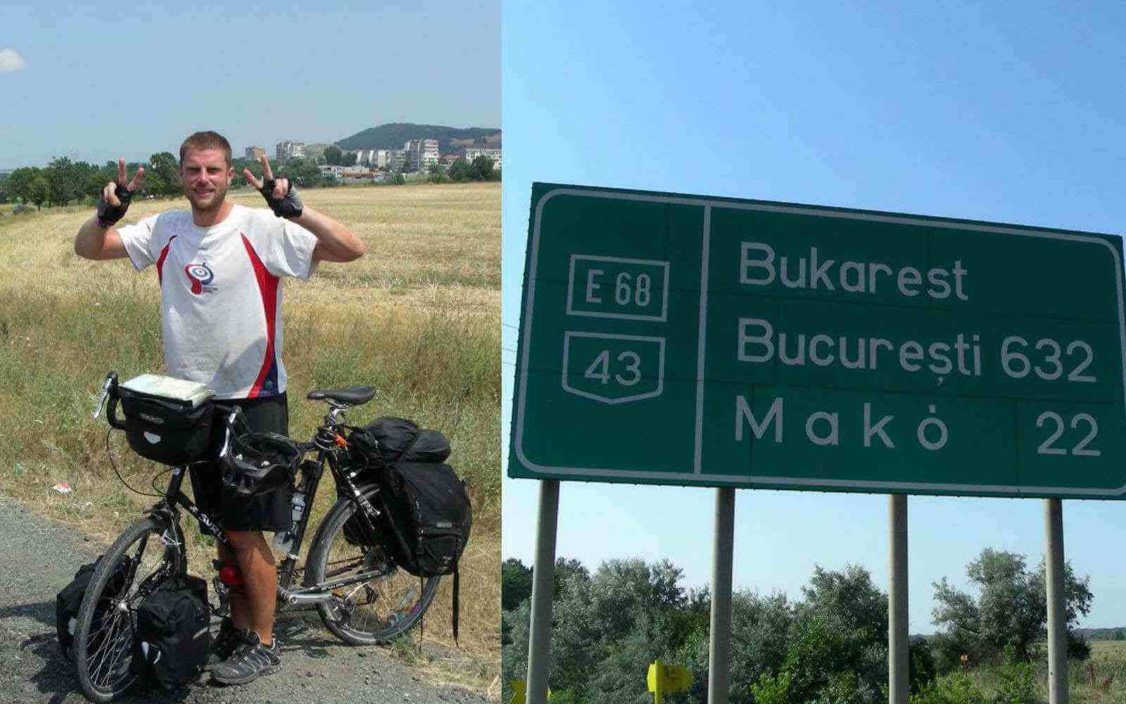 Si on the bike and a sign to Bukarest