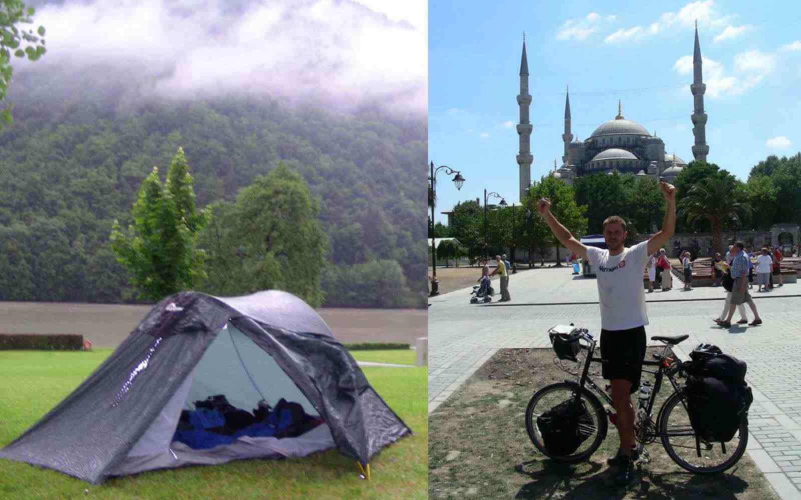 Simon bikepacking camping and reaching Istanbul
