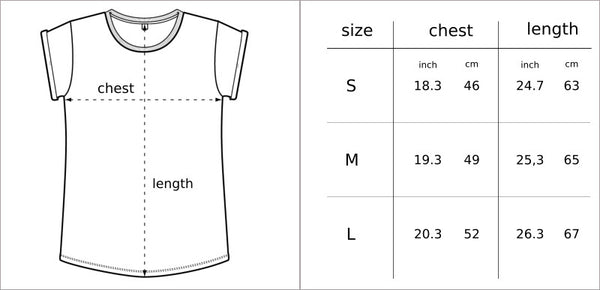 MTB t-shirt size chart No Bad Days