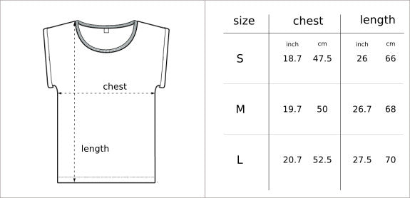 T-shirt Size Chart Glower clothing