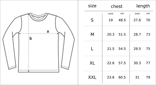 Size Chart Men's long sleeve MTB jersey