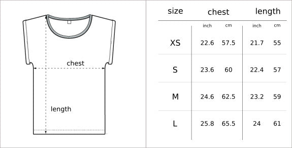 Size Chart Women's t-shirt Glower clothing