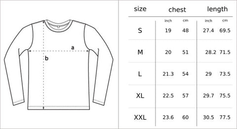 Long sleeve top size chart