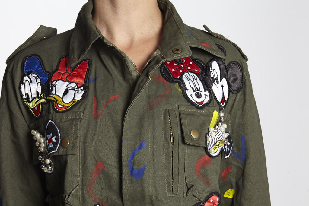 Donald & Daisy Duck, Mickey Mouse. Army jacket disney squad, every jacket is unique and fabulous