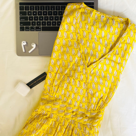 Yellow Blockprinted Maxi