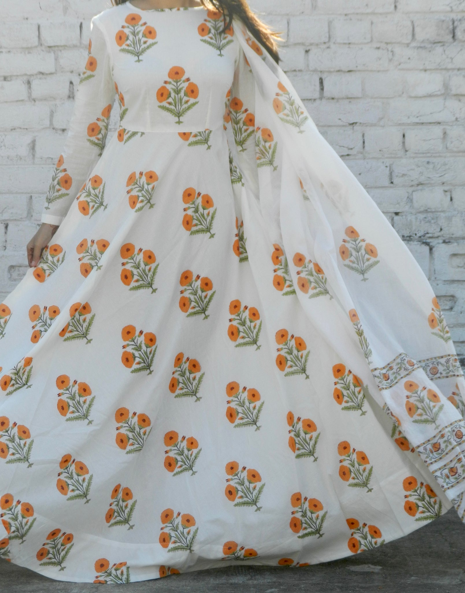 Orange Blockprint Mulmul Dupatta