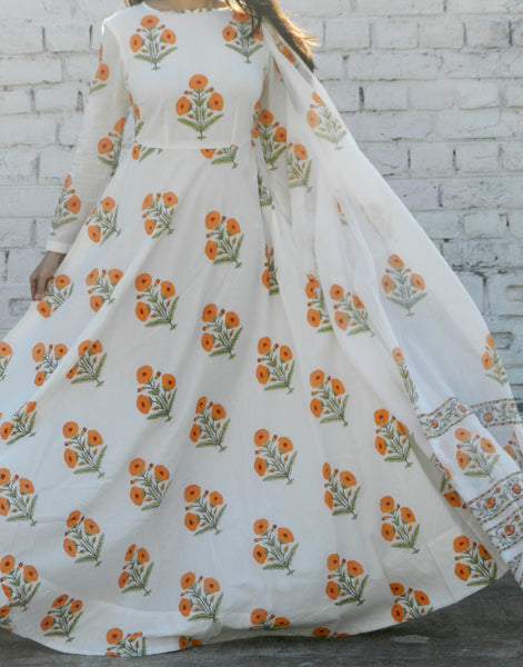 Orange Blockprint Anarkali Suit with Dupatta