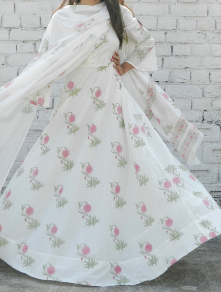 Dahlia Pink Blockprint Anarkali Suit with Dupatta