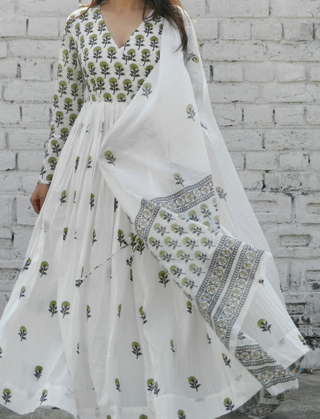 Olive Green Blockprint Angrakha Suit with Dupatta