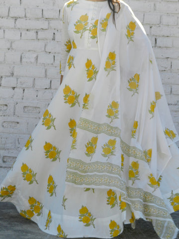 Yellow Rose Blockprint Mulmul Dupatta