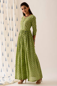 Green BlockPrint Maxi