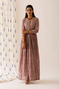 Mint Pink BlockPrint Maxi