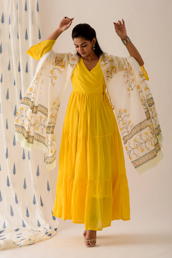Offwhite Lemon Yellow Mulmul Dupatta