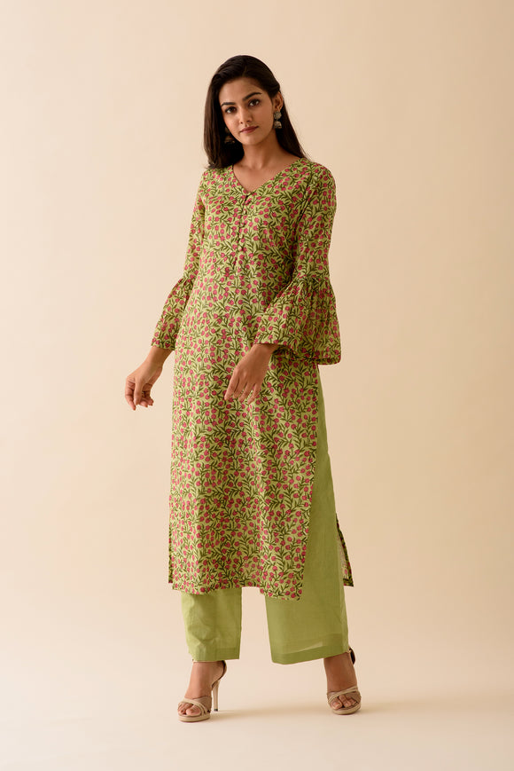 Olive Green Jhaal BlockPrint Kurta