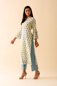 Blue Mini Mogra Blockprint Kurta Palazzo Set