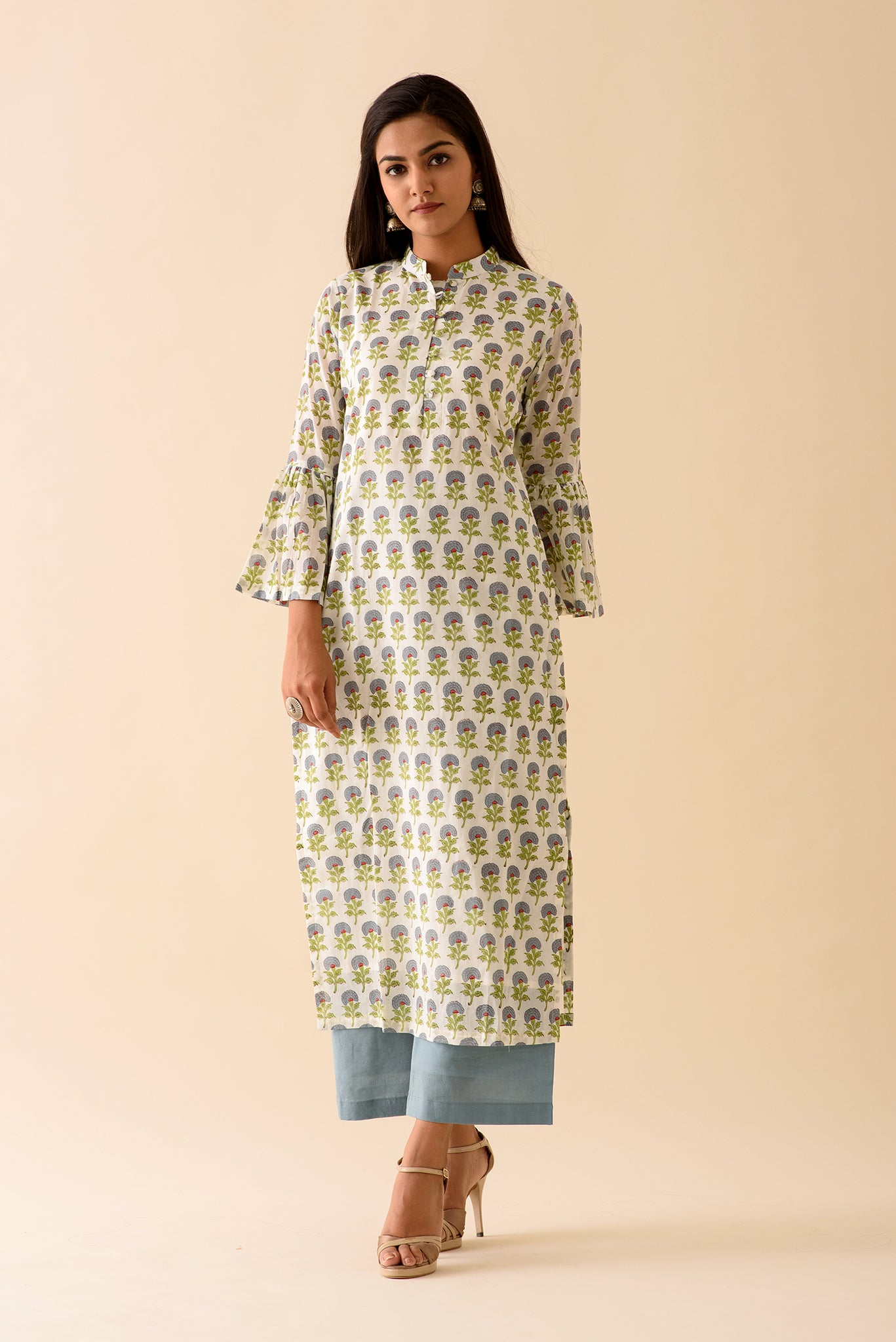 Blue Mini Mogra Blockprint Kurta