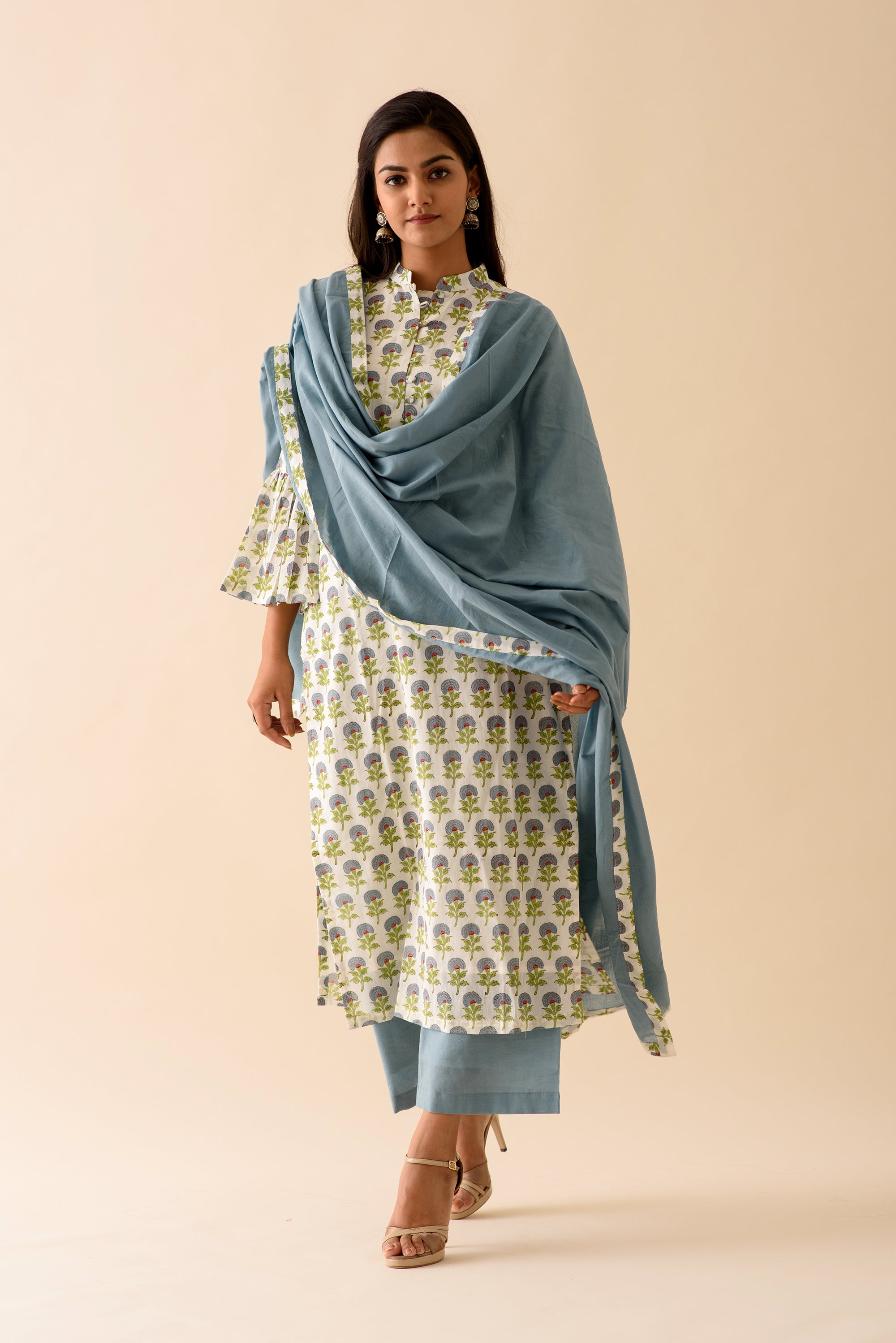 Blue Mini Mogra Blockprint Suit Set