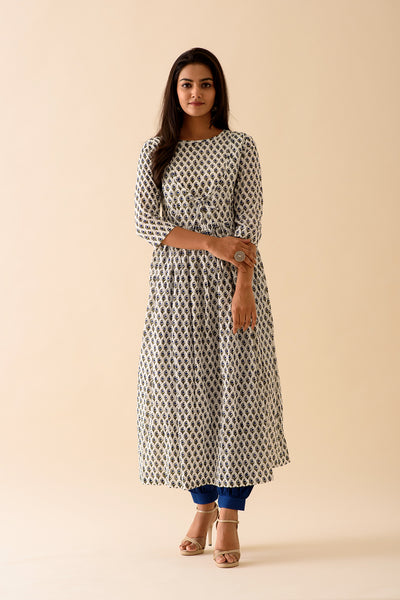 Navy Blue BlockPrint Kurta