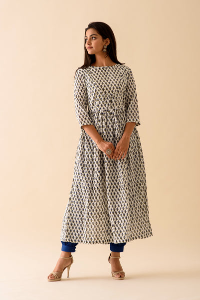 Navy Blue BlockPrint Kurta Palazzo Set