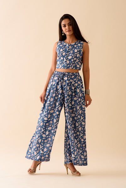 Blue BlockPrint Crop Top & Pants Jacket Set