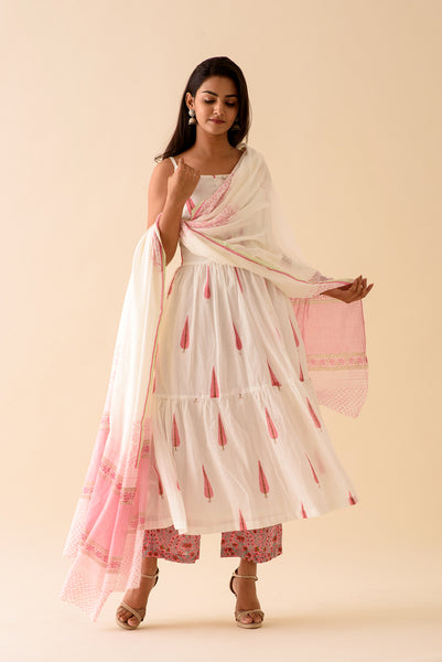 Pink Leaf BlockPrint Suit Set