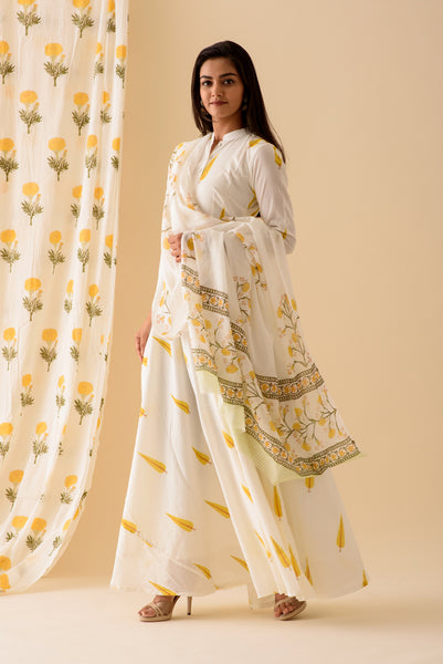 Yellow Leaf Anarkali Suit Set