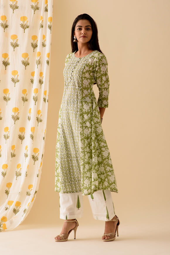 Green MixnMatch Kurta