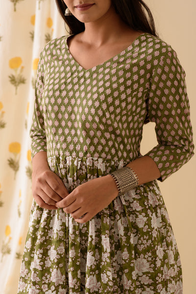 Green BlockPrint Kurta