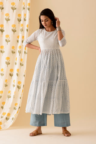 Honeycomb BlockPrint Offwhite Blue Kurta Palazzo Set