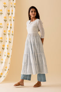 Honeycomb BlockPrint Offwhite Blue Kurta