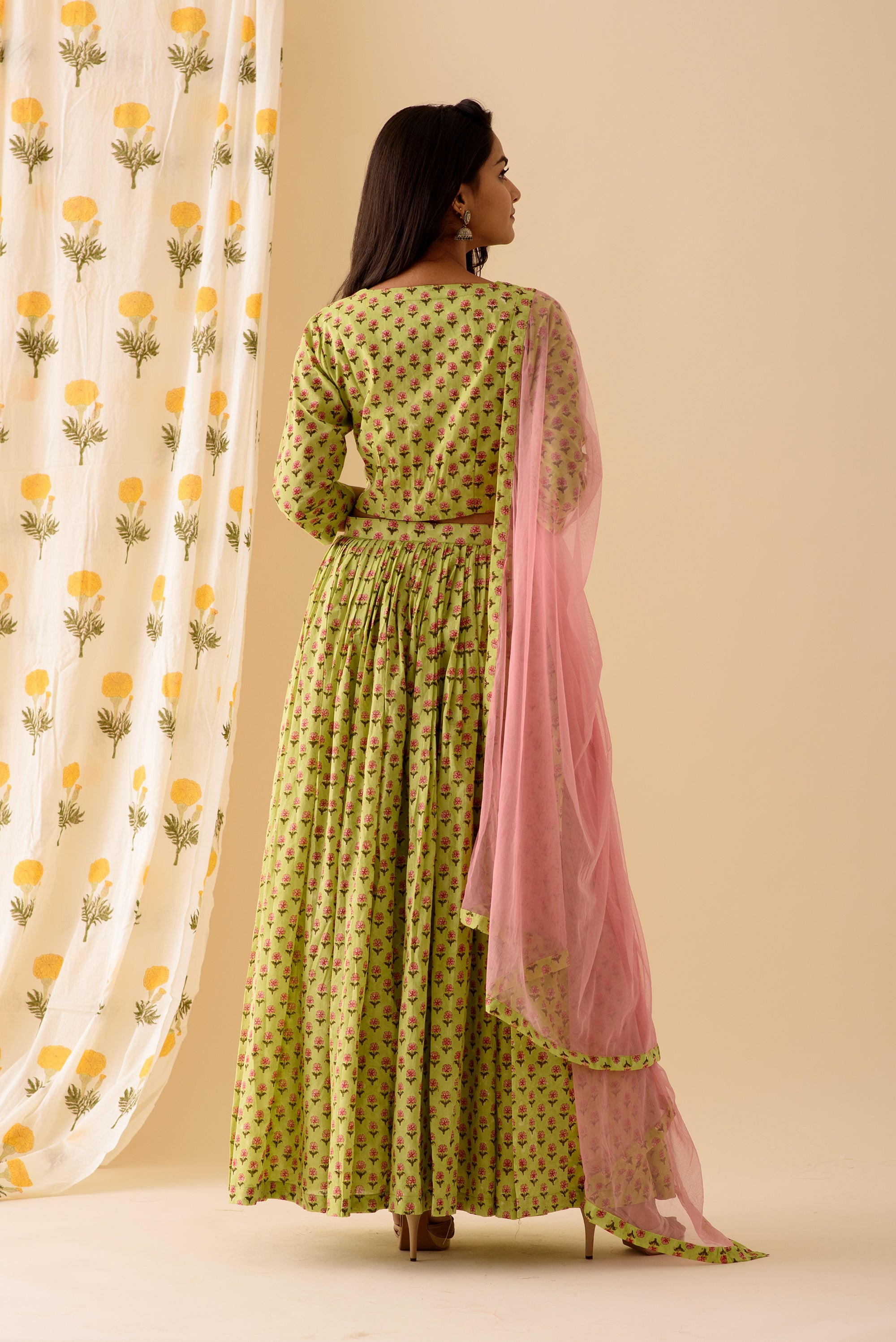 Green BlockPrint Lehenga Set