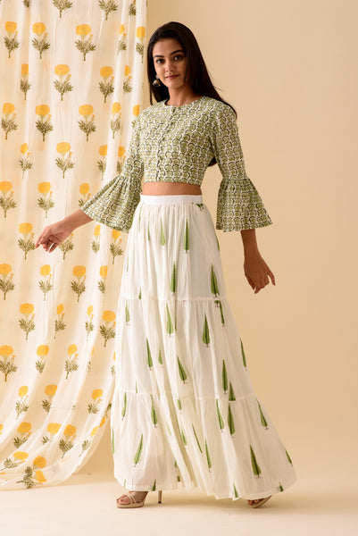 Green OffWhite Crop Top Set