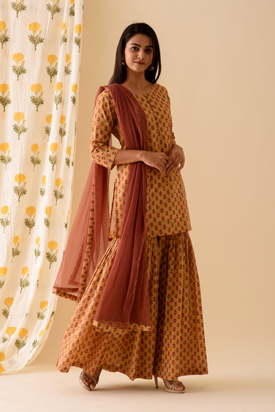 Mustard BlockPrint Sharara Set