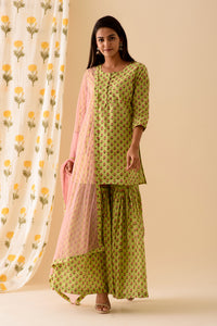 Green Blockprint Sharara Set