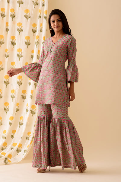Mint Pink BlockPrint Sharara Set