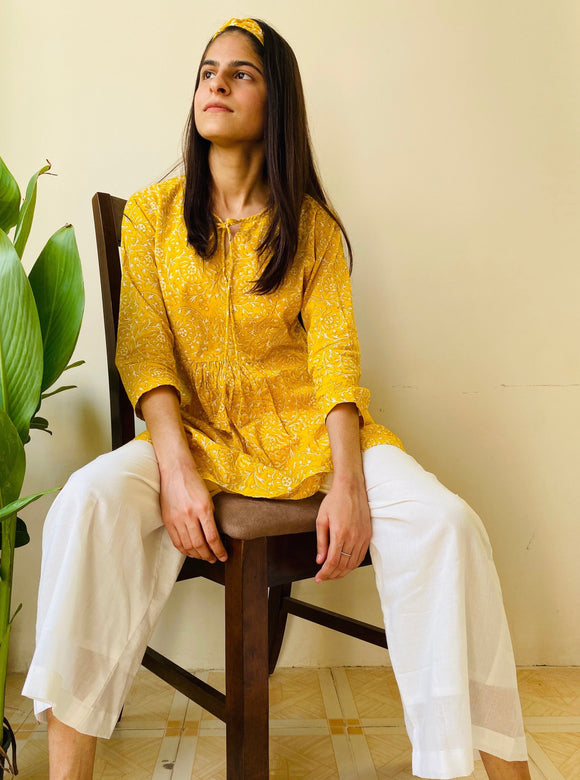Yellow Jhaal Pyjama Set - Set of 2