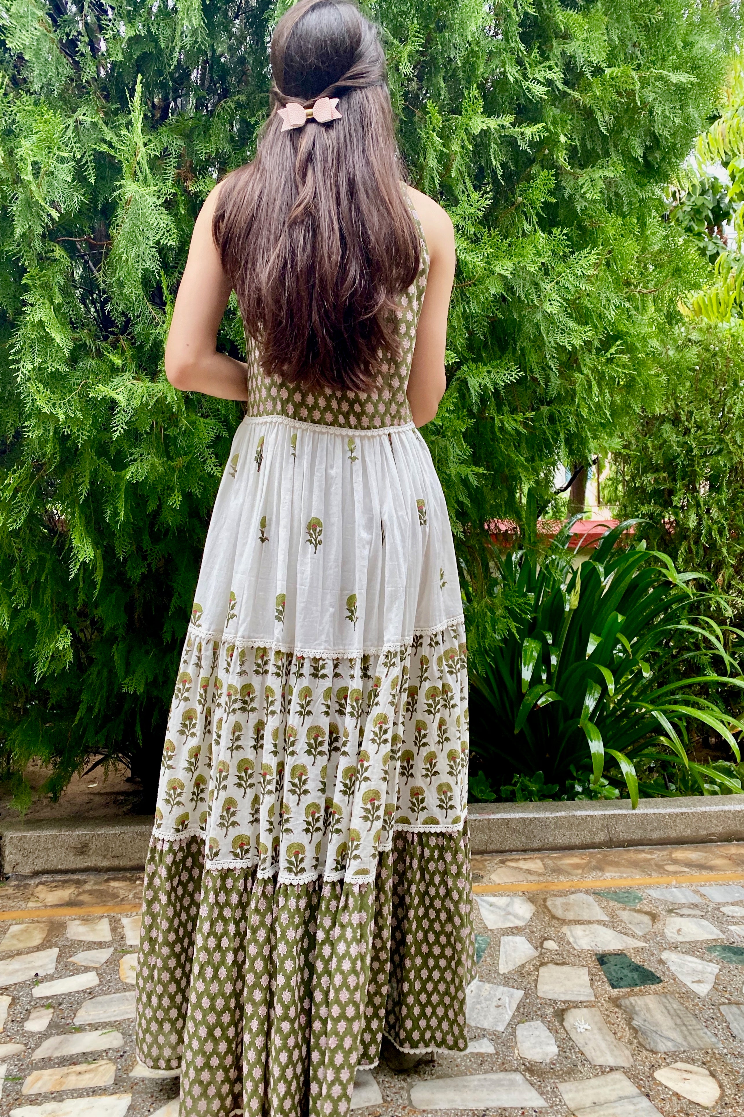 Olive Green Flora Boho Tiered Maxi