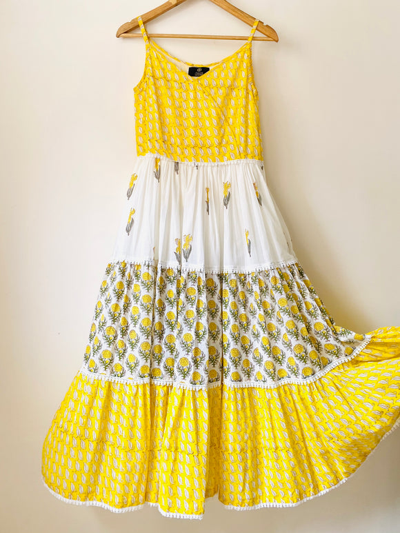Lemon Flora Boho Tiered Maxi