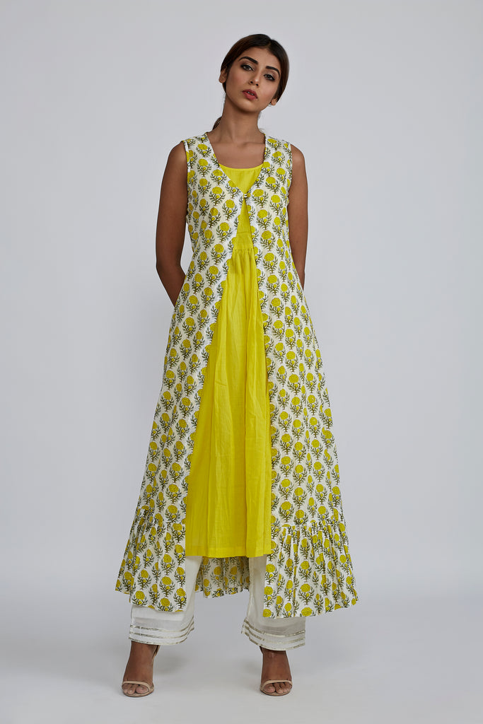 Lemon gathered Kurta with White cotton Pants & Lemon Rose Blockprint Cover Up Jacket - Set of 3