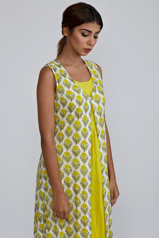 Lemon gathered Kurta with Lemon Rose Blockprint Cover Up Jacket - Set of 2