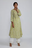 Lemon Rose BlockPrint Bhopali Kurta
