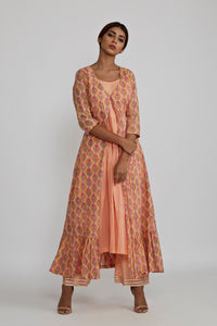 Peach gathered Kurta with Peach Rose Blockprint Cover Up Jacket - Set of 2