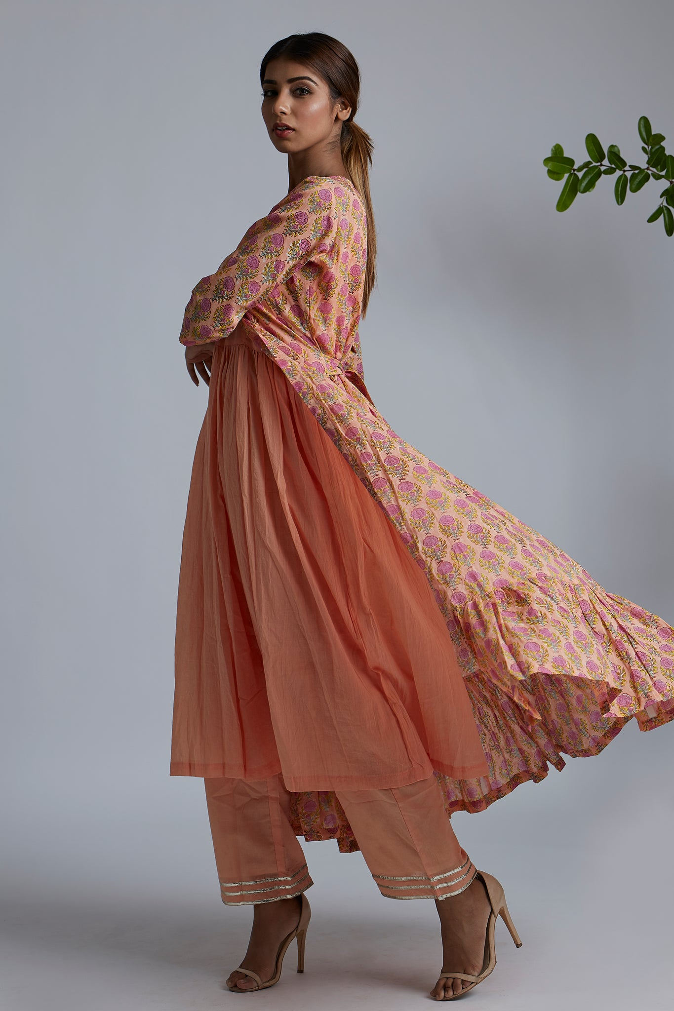 Peach gathered Kurta with Peach pants & Peach Rose Blockprint Cover Up Jacket - Set of 3