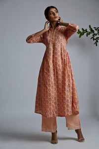 Peach Rose BlockPrint Bhopali Kurta with Pants - Set of 2